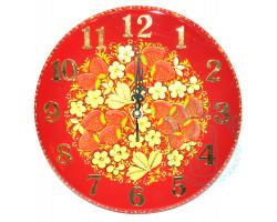Часы Хохлома D 25 красные