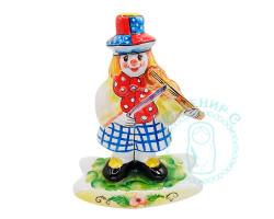 Клоун-скрипач майолика