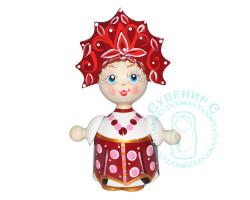Кукла в кокошнике малая Бордовая