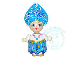 Кукла в кокошнике малая Голубая