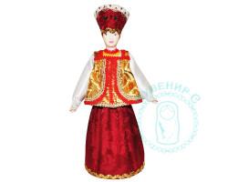 Кукла. Девушка в кокошнике в желто-красном платье