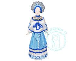 Кукла. Девушка в кокошнике в бело-синем платье
